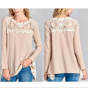NEW! Trapeze Top with Crochet Lace